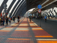 Bunte Schatten auf Radweg  Amsterdam Noord-Holland Niederlande by Peter Ehlert in Amsterdam Trip