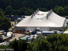 Zelte und Buden vom Olympiaberg gesehen  München Bayern Deutschland by Peter Ehlert in Sommer-Tollwood Festival